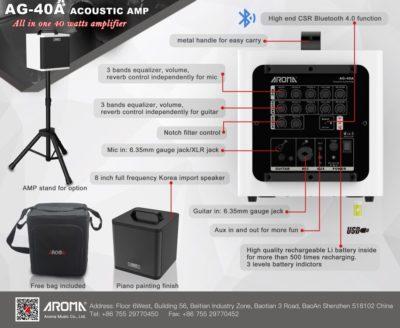 AG-40A AROMA Acoustic versterker 40 Watt incl. Standaard